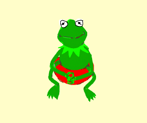 Kermit sitting on a large tomato