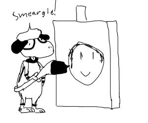 Smeargle paints a smiley face