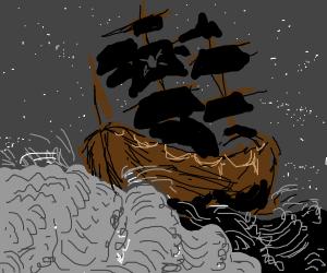 Pirates sailing at night
