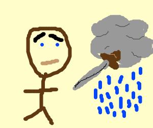 cornered man scared of rain cloud and sword