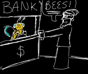 man robbing a bee bank. he demands bees.