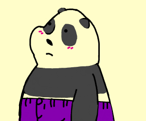 Panda wearing purple pants