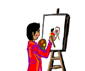 Man painting a picture of himself