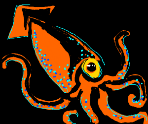 a giant orange squid