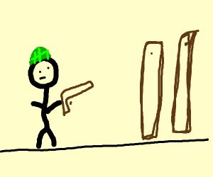 RPG battle against planks