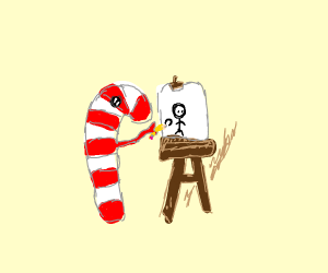 candy cane drawing stick figure