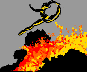 ballet dancer dancing over lava