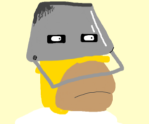 Homer Simpson with a bucket in his head