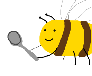 a bee holding a spoon