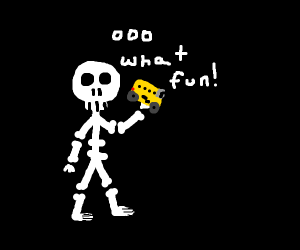 A skeleton holding a toy school bus