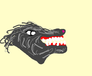Wolf with open jaw