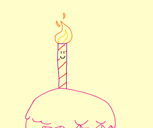 Happy candle on a cupcake