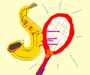 Playing tennis but a saxophone is in the ball