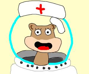 sandy cheeks as a nurse