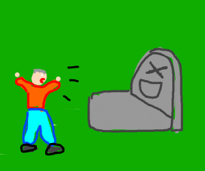 man yelling at a grave of laugher