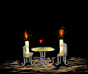 Two candles on a date in the dark