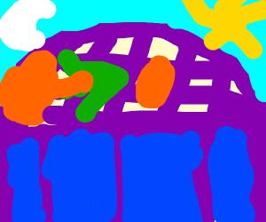 An Orange crossing a Bridge