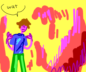 Man trapped in pink and yellow craziness land