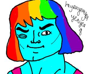 "Rainbow He-man says ""heyeayeayeayea"""