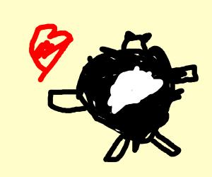 Giving love to a fat panda