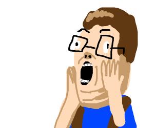 Nerd boy is shocked