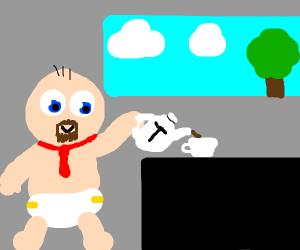 Man baby makes tea