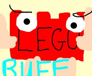 Buff red LEGO brick