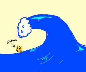 Tsunami drowns a Jaguar