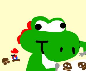 Mario feeds BEEG YOSHI Goomba corpses