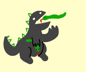 Godzilla with skin cancer eating snakes