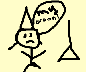 Sad Witch stares at their Broom