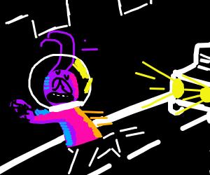 Man runs away from car headlights (alien)