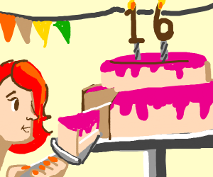 Red Haired Girl Cuts Birthday Cake
