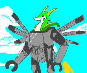 Serperior but inside a flying mecha