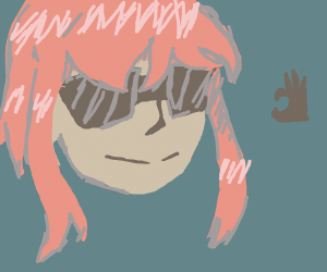 pink haired girl wearing sunglasses