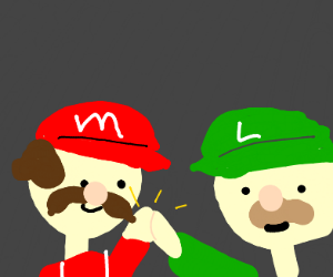 Mario and Luigi high five