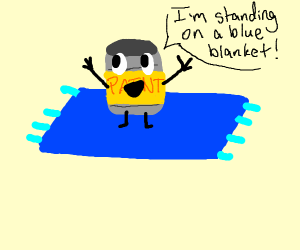 Yellow can stands on a blue blanket