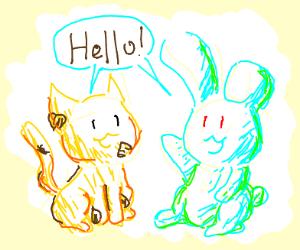 animals say hello