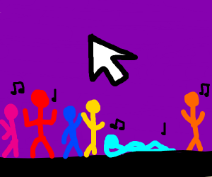 Rainbow people dancing by a flying cursor