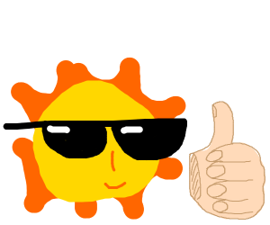 Cool sun emoji gives thumbs up