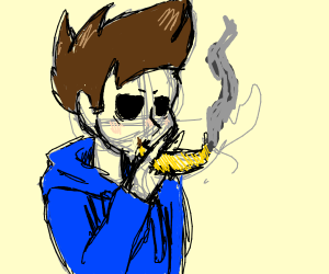 Tom (from eddsworld) smoking a banana