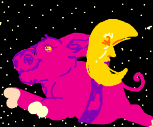 Pig owns the moon riding on its back