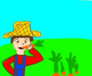 Farmer eats the vegetables
