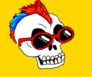 Seleton with red + blue mohawk and sunglases