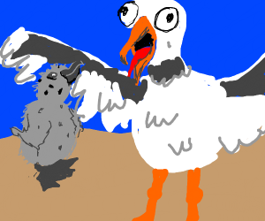 seagull standing with baby seagull