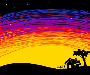 Black house at sunset