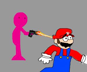 pink man shoots mario dead