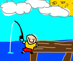 caillou goes fishing!