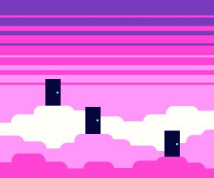 Three doors in a pink heaven