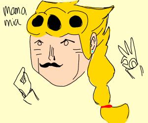 Giorno Giovanna with a moustache